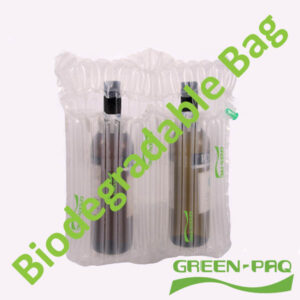 Inflatable packaging bag made from biodegradable plastic
